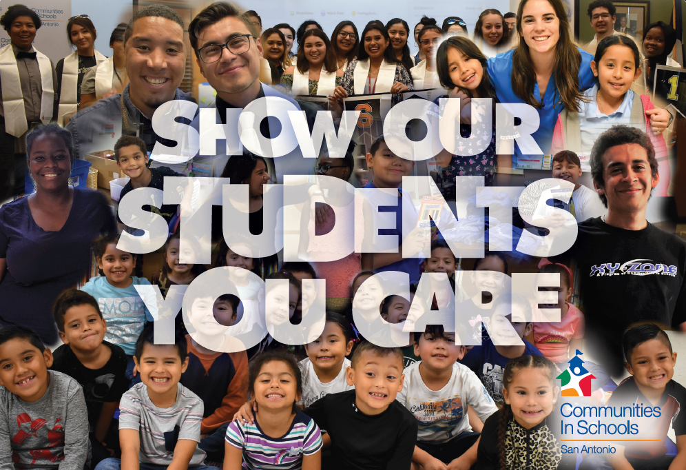 Collage of students with text Show Our Students You Care